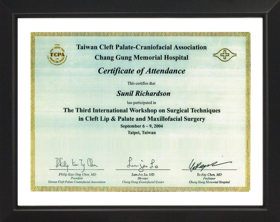 Cleft Palate & Craniofacial Association-Certificate