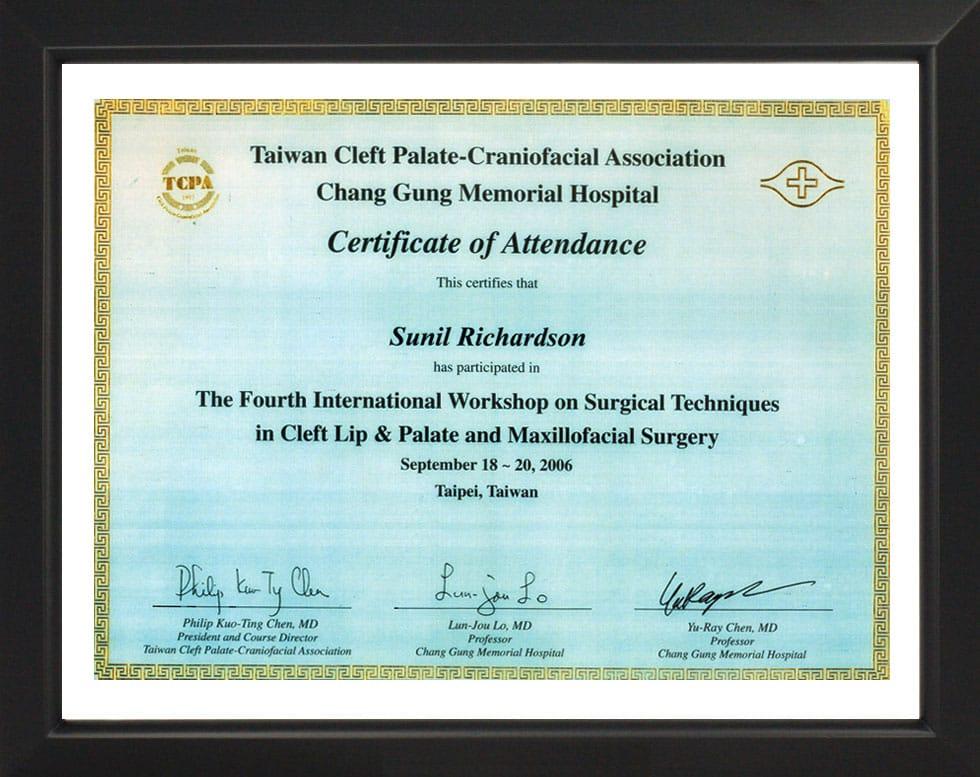 Cleft Palate & Craniofacial Association Taiwan-Certificate