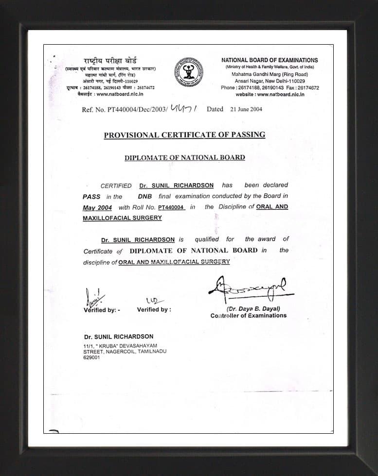 Diplomate of National Board- Certificate