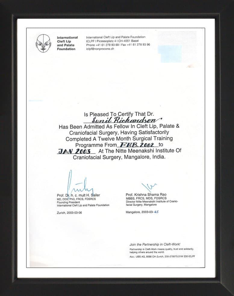 International Cleft Lip and Palate Foundation Switzerland-Certificate