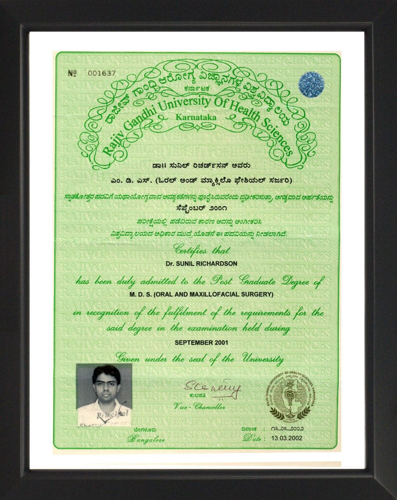 Rajiv Gandhi University of Health Sciences - MDS Certificate