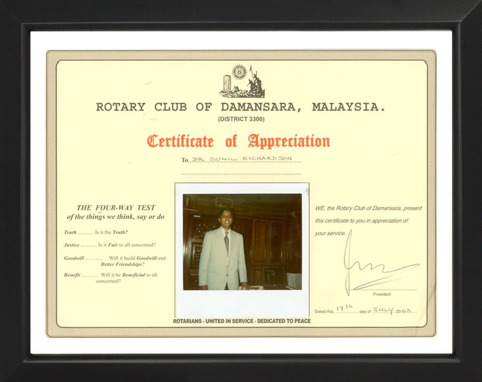 Rotary Club of Damansara- Certificate