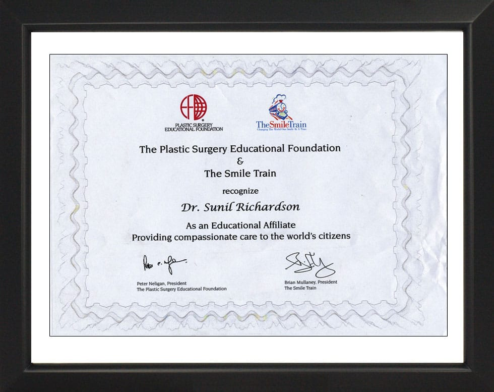 The Plastic Surgery Educational Foundation-Certificate
