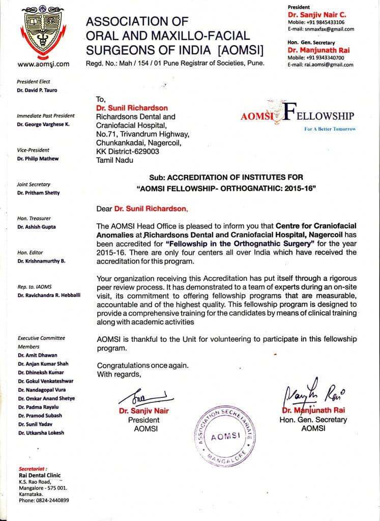 AOMIS Certificate for Richardsons Dental and Craniofacial Hospital