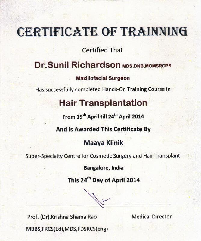 Certificate - Banglore, 2014