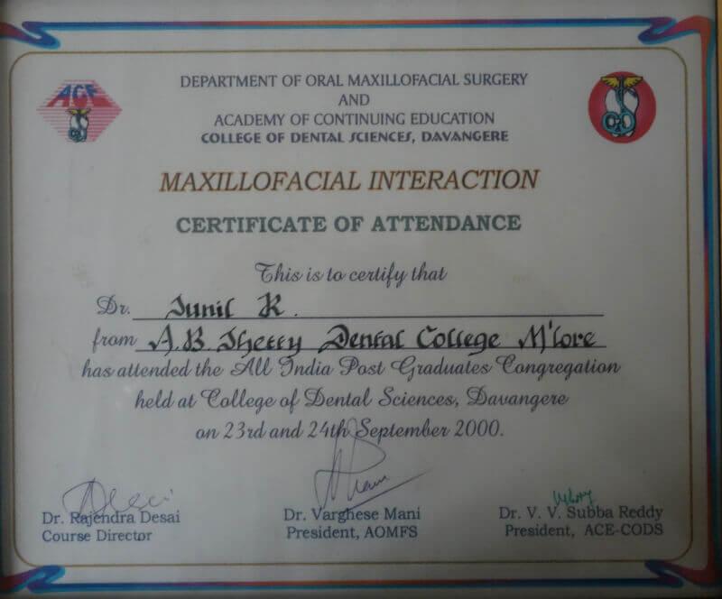 Certificate - Davangere, 2000