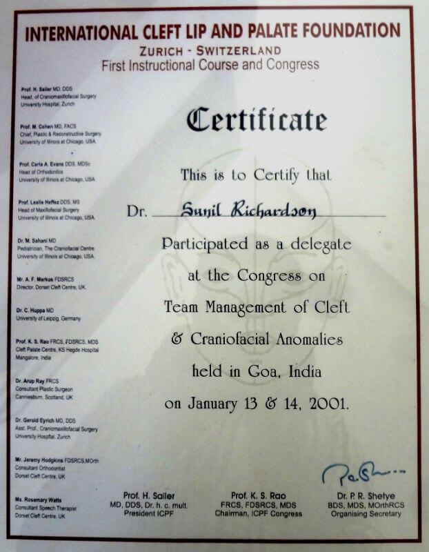 Certificate - Goa, 2001