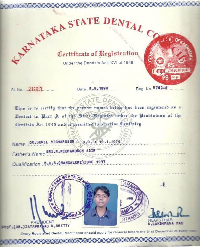 Certificate - Karnataka, 1998