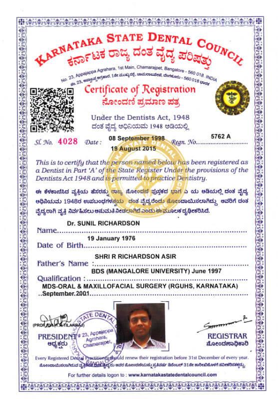 Certificate - Karnataka, 2001