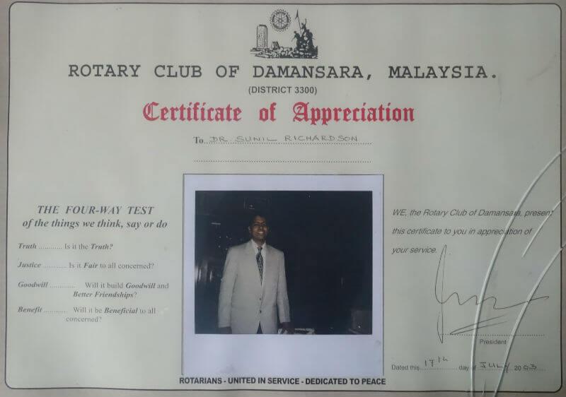 Certificate - Malaysia, 2003