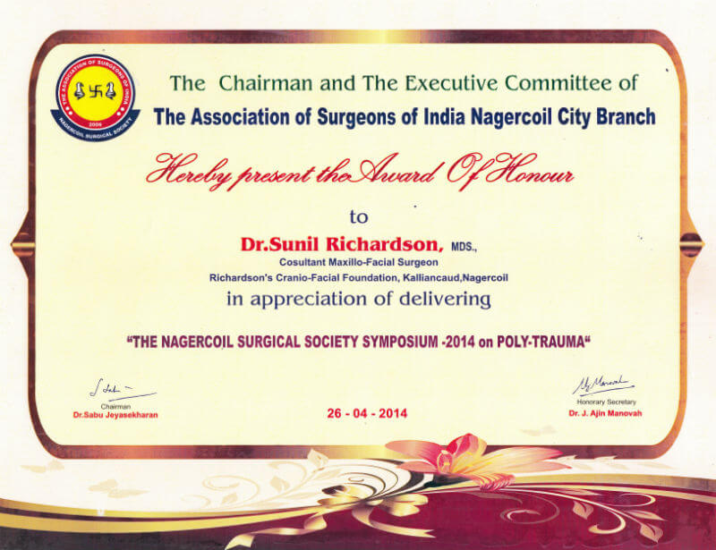 Certificate - Nagercoil, 2014