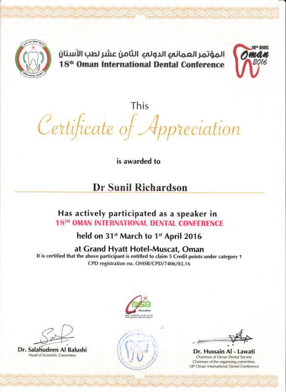 Certificate - Oman, 2016