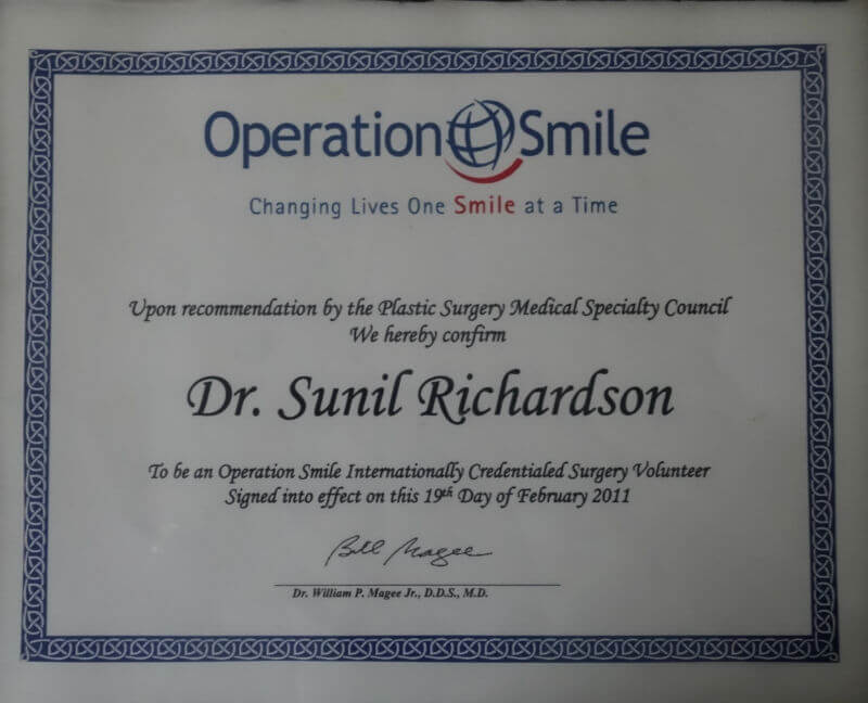 Certificate - Operation Smile, 2011