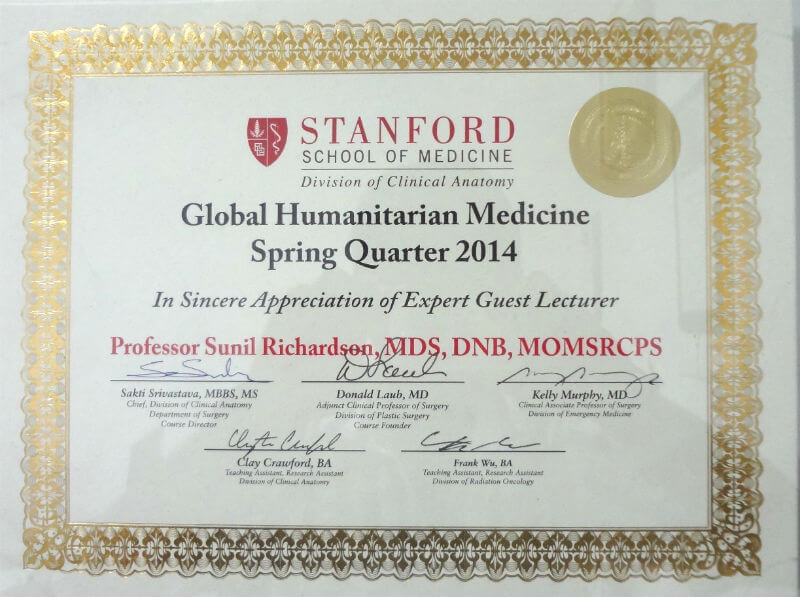 Certificate Stanford school of Medicine - 2014