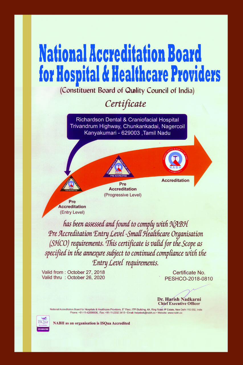 NABH Certificate for Richardsons Dental and Craniofacial Hospital