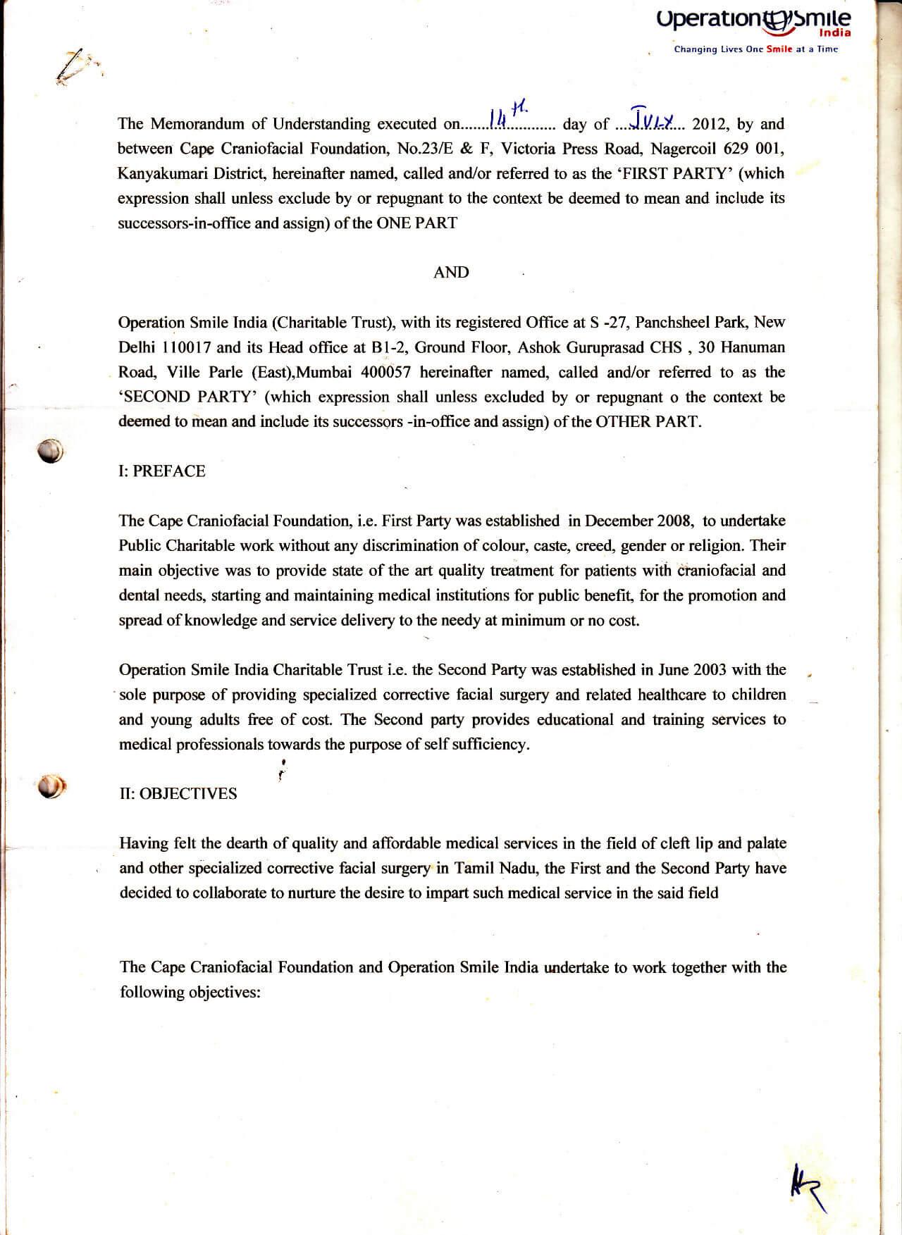 Operation Smile India Agreement 1