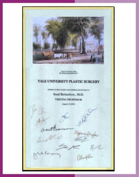 Dr.Sunil Richardsons Certificate from Yale University USA